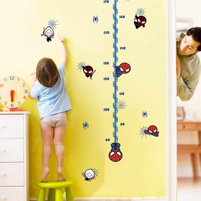 & Cartoon Hero Avengers Spiderman Wall Stickers Growth Chart Boys Kids Room Nursery Living Room Home Decor Vinyl Height Measure