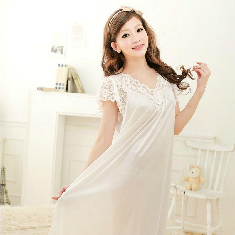 2018 New Long White Nightgown Women Nightgown Princess Nightdress Ladies  Sexy Nightwear Short Sleeve Sleepwear Sleeping Dress 48 S1011 Silk  Nightwear Ladies ... ce098825b