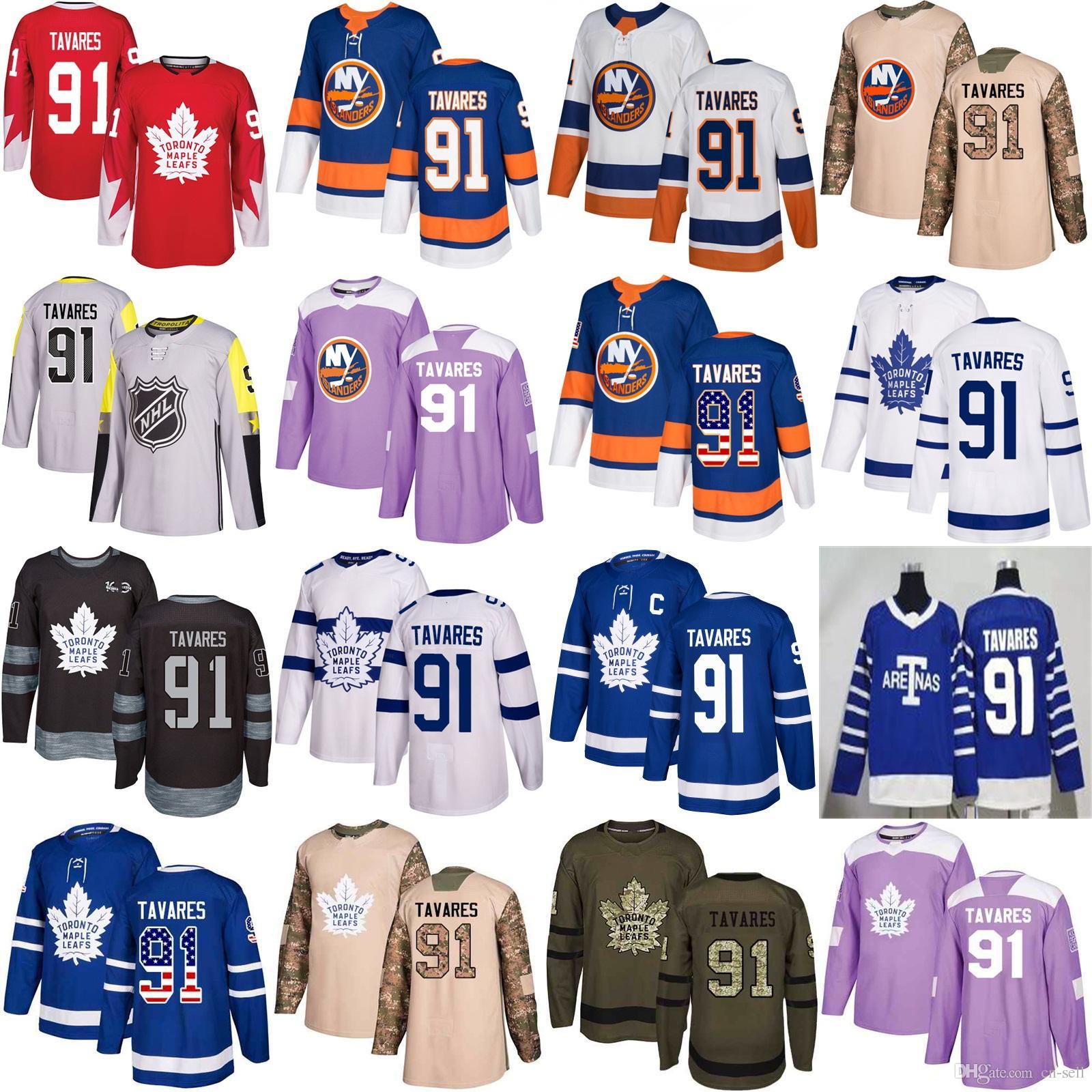 4eda2eea7 Mens 91 Tavares Toronto 1918 Maple Leafs New York Islanders Hockey ...