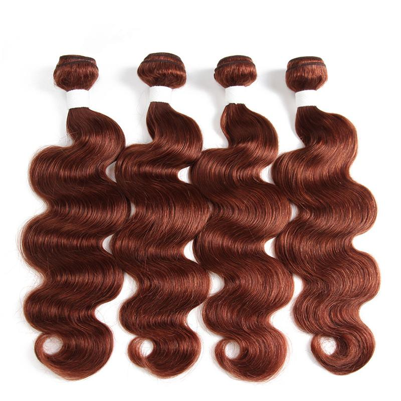 العذراء البرازيلي الظلام أوبورن الشعر البشري ينسج مع إغلاق جسم موجة # 33 النحاس الأحمر الإنسان الشعر 4 حزم صفقات مع 4x4 الرباط اختتام