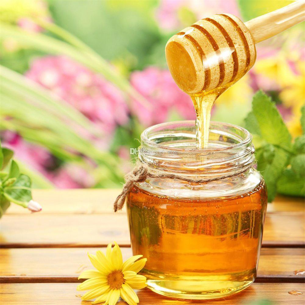 Vara de madeira da colher do fornecimento do partido do Dipper do mel de madeira da vara do mel de 3 polegadas mini para a vara do frasco