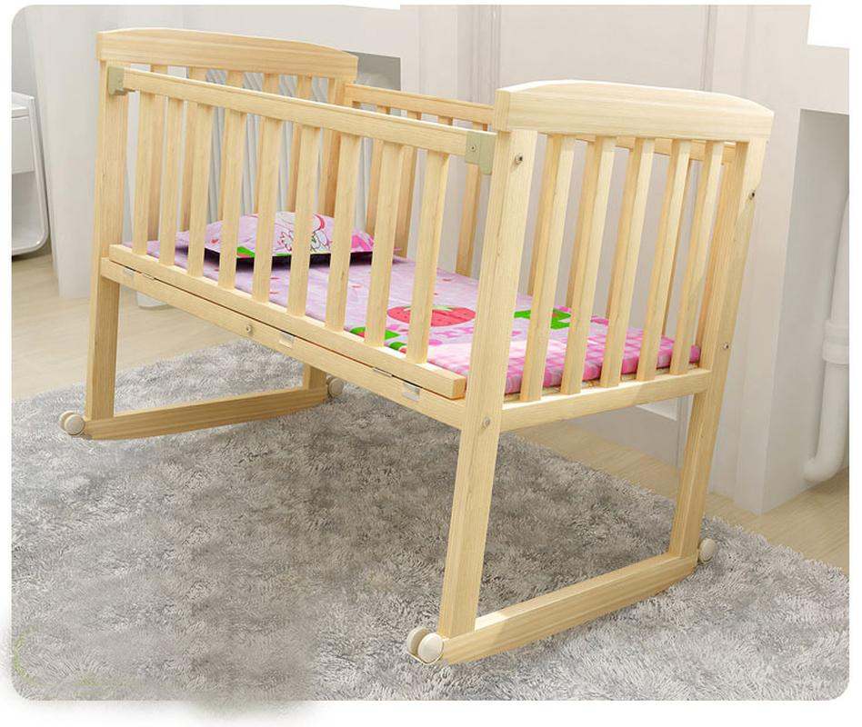Baby Crib Saplings Glider Lockable Cradle Baby Child Nursery Furniture Solid Wood Sleeping Independent Portable Cradle Cot