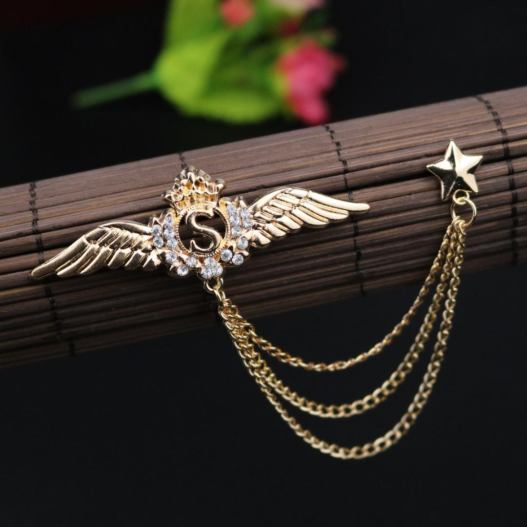 8f8672dc6b0f i-Remiel Retro Jewelry Angel Wing Crystal Tassel Brooch Collar Pins and Brooches  Men's Suit Shirt Decoration Badges Accessories