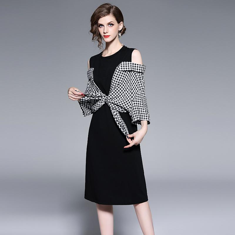 59b481f7798 Off Shoulder Dresses Women Casual Long Dresses Slim Fit Trend Plaid ...