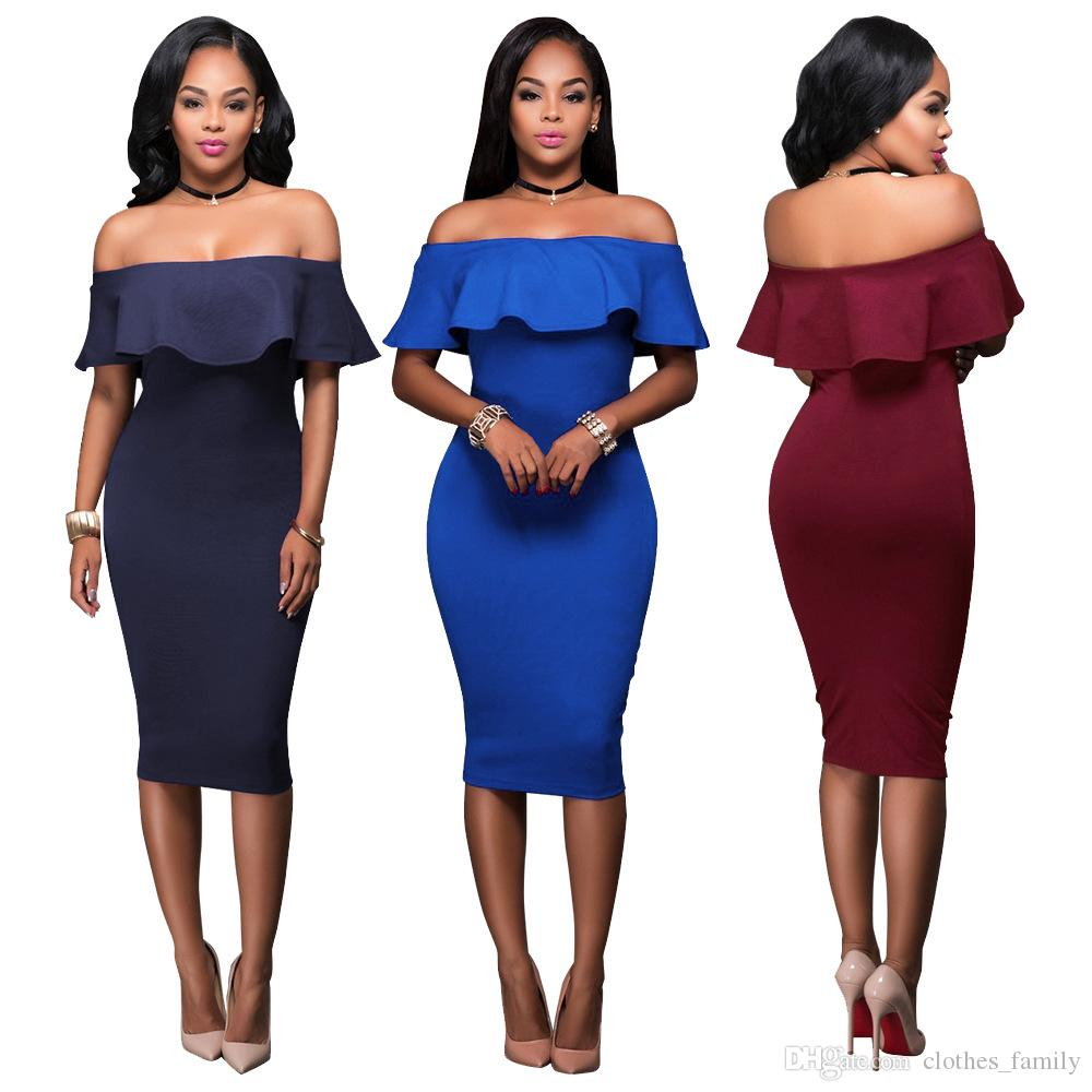 Top 2020 New High Quality Women Fashion Dresses Slim Strapless Sexy Tight Hiphuggers Long Bodycon Dresses Casual Plus Size Party Dress