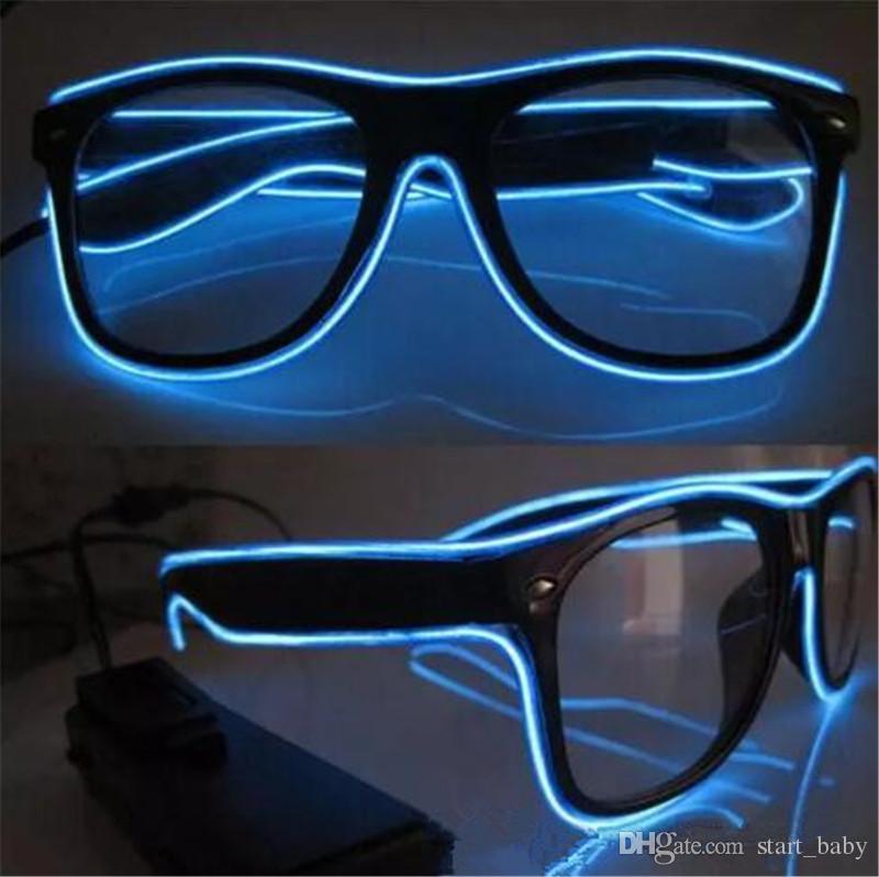 Simple el glasses El Wire Fashion Neon LED Light Up Shutter Shaped Glow Sun Glasses Rave Costume Party DJ Bright SunGlasses B11