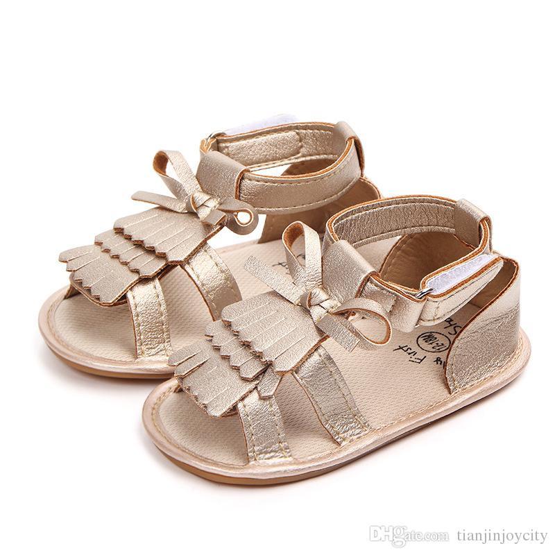 Leder Rosa Sandalen Sommer Rutschfeste Fransen Mädchen Weiß Schuhe Mode Bogen Goldene Baby Gummi Kleinkind Pu 4j5RL3A