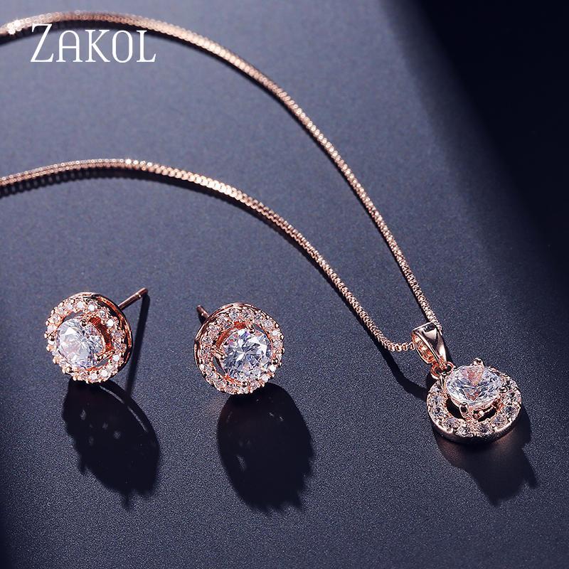 ZAKOL Trendy Kız Mikro Kakma Takı Seti Sıcak Satış Yuvarlak Kristal Rhinestone Saplama Küpe Kolye / Kadınlar Için Kolye FSSP266