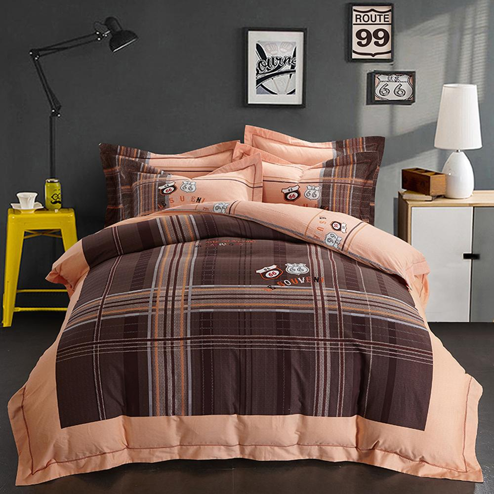 Großhandel 2018 Route 66 Plaid Brown Bettwäsche Sets Winter Dicke