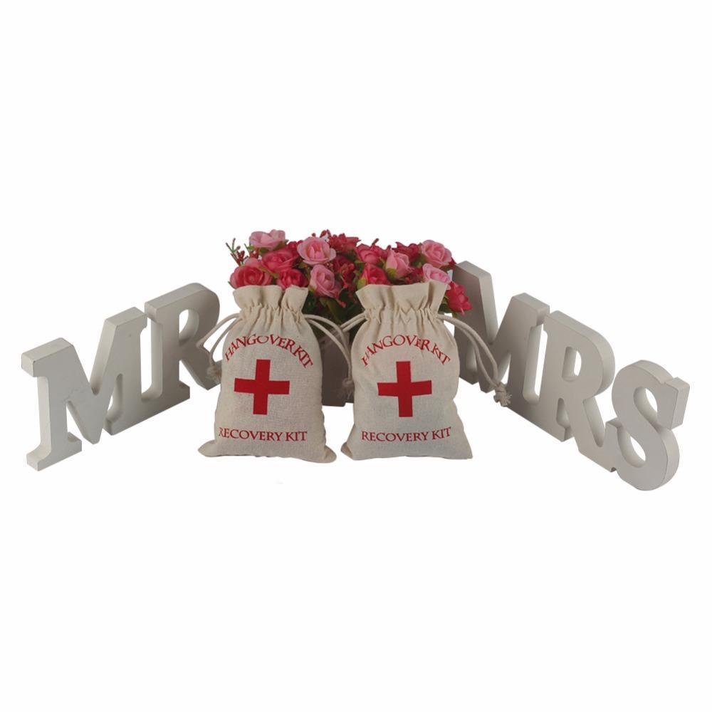 Hangover Kit 10x14cm Wedding Favor Holder Bag Red Cross Cotton Linen ...
