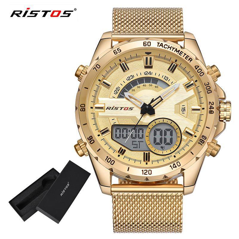 2e904ec55522 2018 Ristos Men Chronograph Digital Wristwatch Multifunction Steel Mesh  Watch Fashion Relojes Masculino Hombre Man Sport Watches Watch For Sale  Watch Sales ...