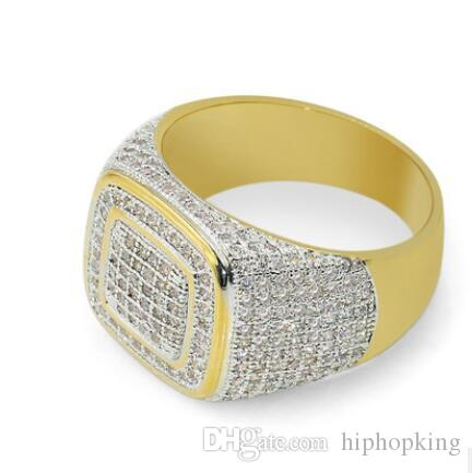 2018 Hip Hop King Stainless Steel Mens Gold Color Ring Exaggerate Big Rings  High Quality Iced Out Crystal Square Ring Men Ring 65 Yellow Gold Engagement  ...