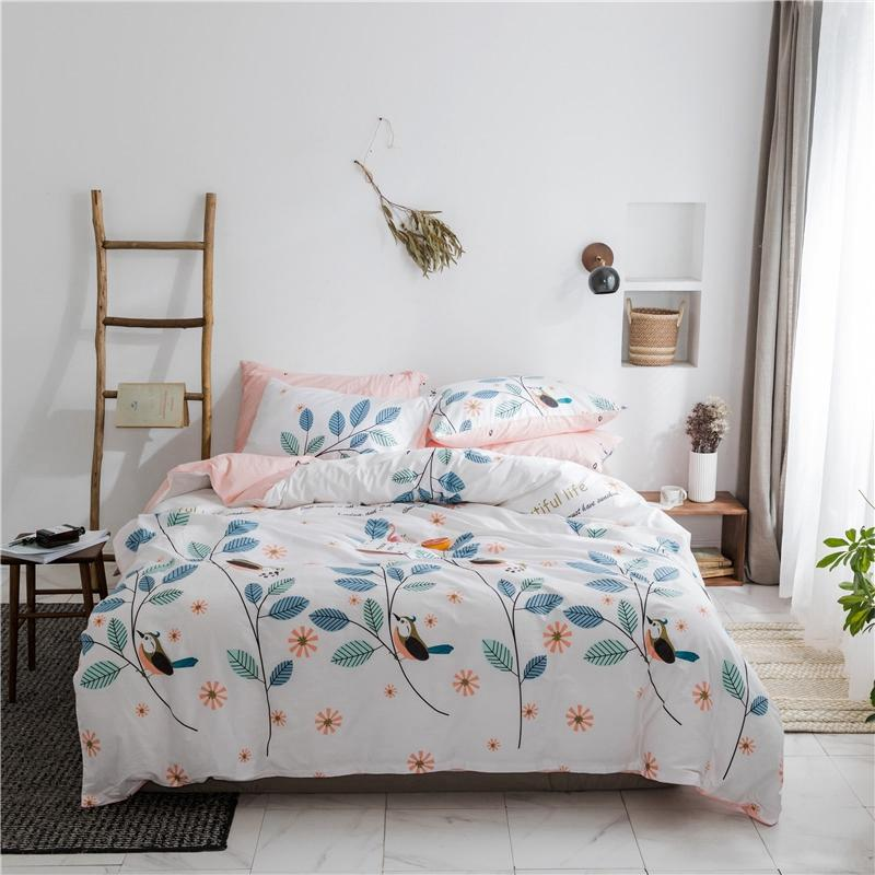 Flower Branches Printed Bedding Set Duvet Cover Pillow Case With Envelope  Closure Queen Size Bed Cover Teen Bedding Pink Sheet Comforters And Bedding  ...