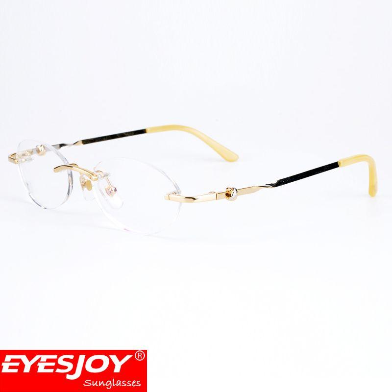 Men Rimless Glasses Metal Frames Gold Silver Leg Oval Clear Lens ...