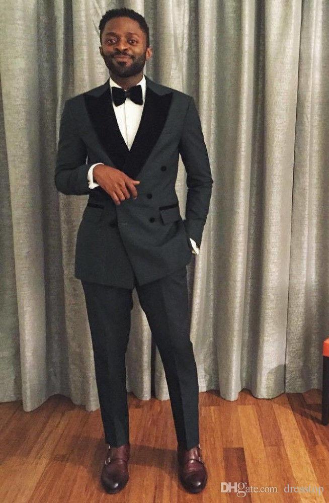 cf6eca83e412 Costumes De Mariage Gris Foncé Pour Hommes Noir Revers Blazer Costume De  Soirée Homme Smokings Slim Fit Custom Made Groom Mariage Tuxedos (veste +  pantalon)