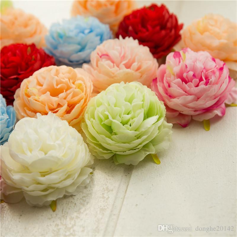 50 قطع رؤساء الزهور الاصطناعية كوبية الفاوانيا زهرة رؤساء الحرير الاصطناعي الزهور جدار الزفاف الديكور خلفية الجدار