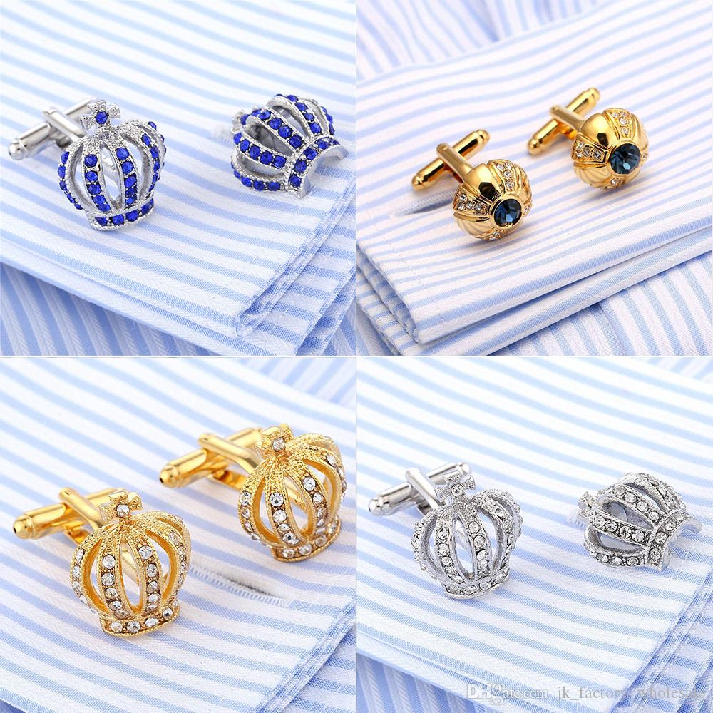 2018 Crown Shirt Cufflinks Wedding Groom Tuxedo Jewelry Fashion