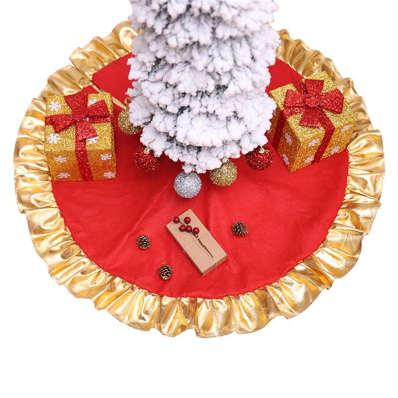 1Pc 90cm Red Christmas Tree Skirt with Golden Ruffle Edge Ornaments Christmas Decoration For Home New Year Decor Xmas Decoration