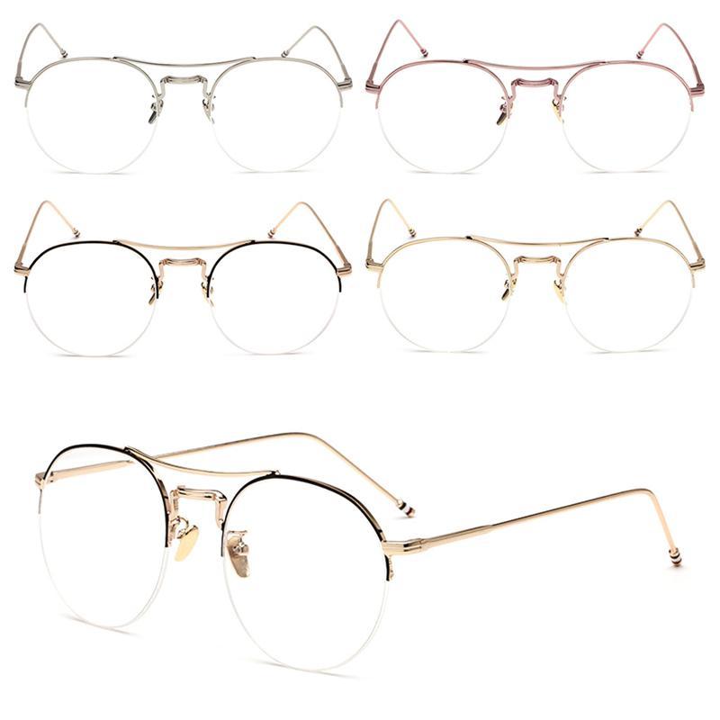 8397cbb324 Vintage Men Women Round Eyeglass Frame Half Rim Glasses Lens ...