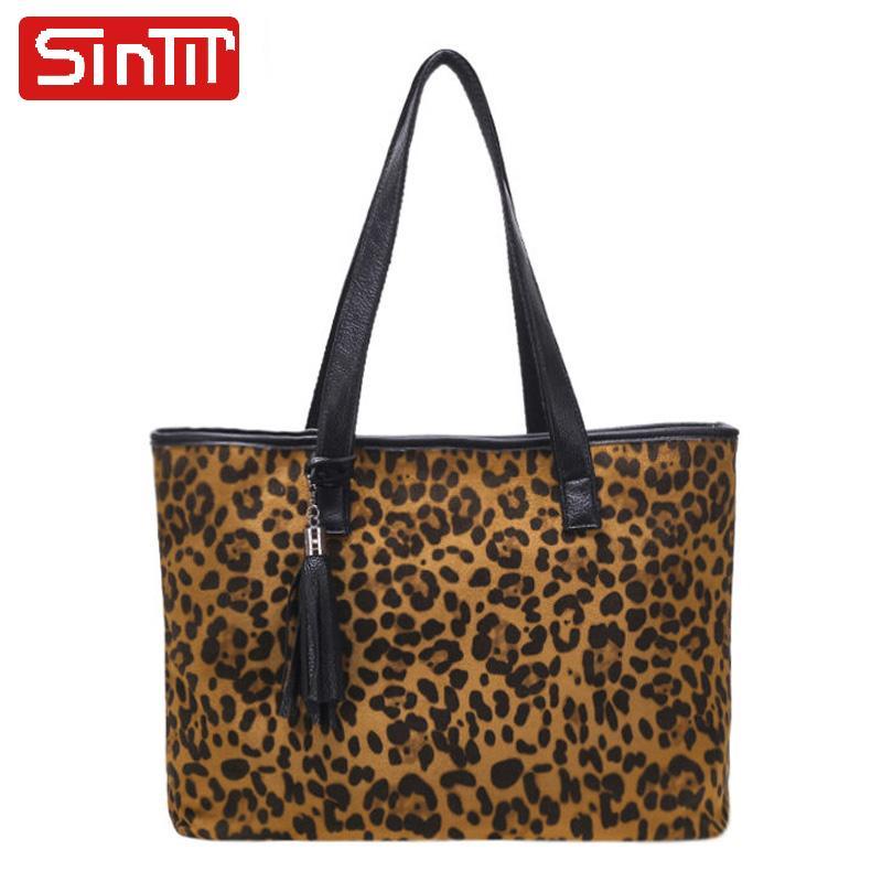 b5a591f01cbec2 SINTIR Fashion Pu Leather Women Shoulder Bags Leopard Women Tote Bags Large  Capacity Handbags Winter Tote Handbags Sac Bags For Women Cheap Designer  Bags ...