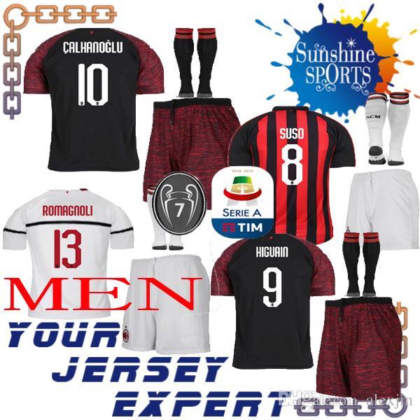 best service 839bf 95b5c AC Milan adult kit soccer Jersey 18 19 Home Away white THIRD black HIGUAIN  SUSO CALHANOGLU men set ROMAGNOLI BONAVENTURA 2018 2019 7 cups