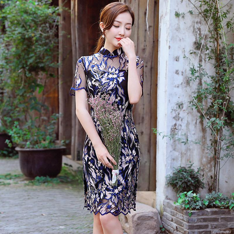9342a97a1 2019 Black Sexy Women Chinese Traditional Dress Short Sleeve ...