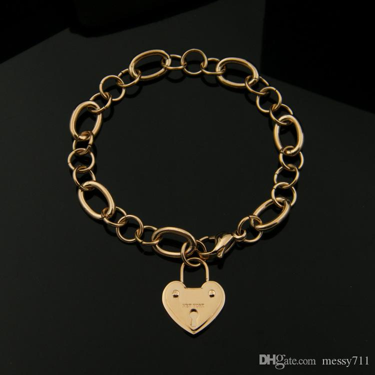 2018 fashion new model classic stainless steel big heart with lock round chain lady Lobster clasp bracelet