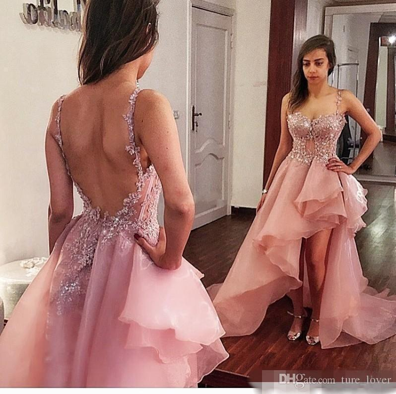 2018 Dusty Pink High Low Prom Dresses Organza Esposti Baning Backless Dress da sera Sexy Custom Made Spaghetti Cinturini Cocktail Party Abiti