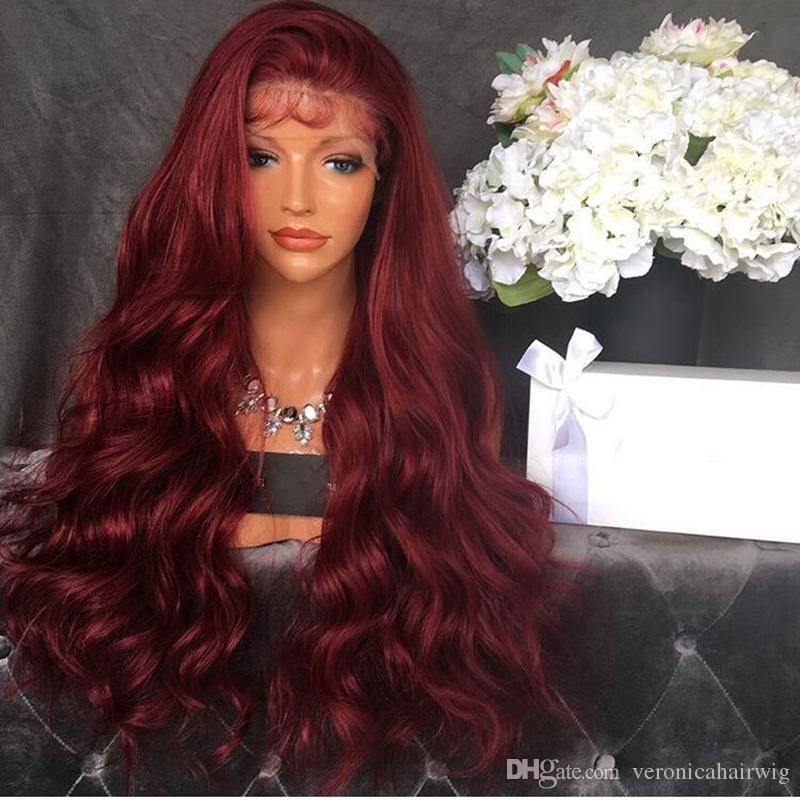 Hot Sexy Burgundy Wine Red Body Wave African American Wigs High Temperature Fiber Hair Glueless Synthetic Lace Front Wigs With Baby Hair