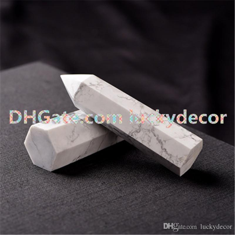 Nice 6.5cm-8.5cm Natural White Polished Turquoise Prism Wand Marble Howlite Crystal Obelisk Quartz Point Specimen Healing Stone High Quality