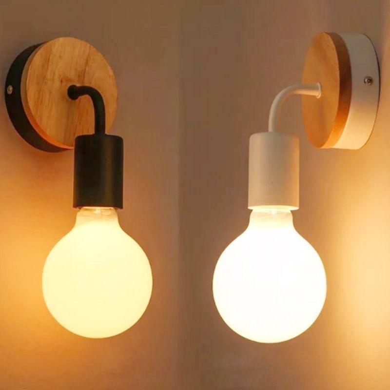 Modern Wood Wall Lamp Vintage Industrial Iron Wall Light Indoor