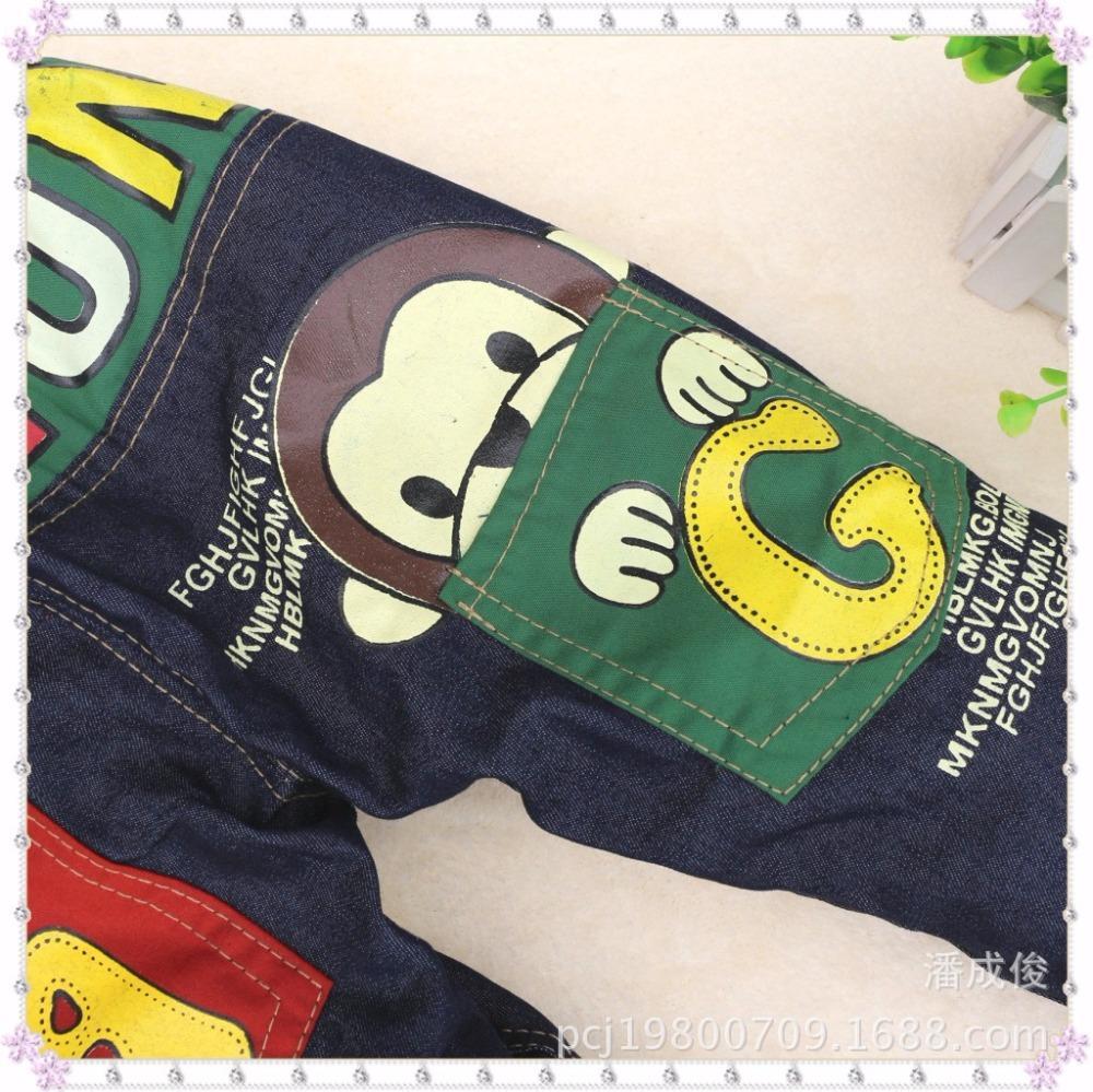 Boy jeans NEAT alphabet animal pattern child pants elastic band zipper straight trousers boy pants 4-7Y 15A009