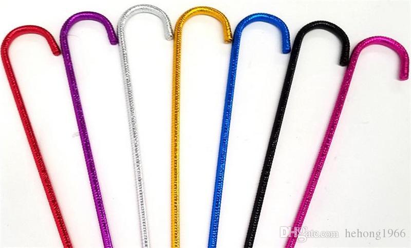Colori solidi Bastoni da passeggio Jazz Avvolgimento esterno Nastro lucido Bastoni danza del ventre Plastica Stampella antiscivolo Fashion 12xw T