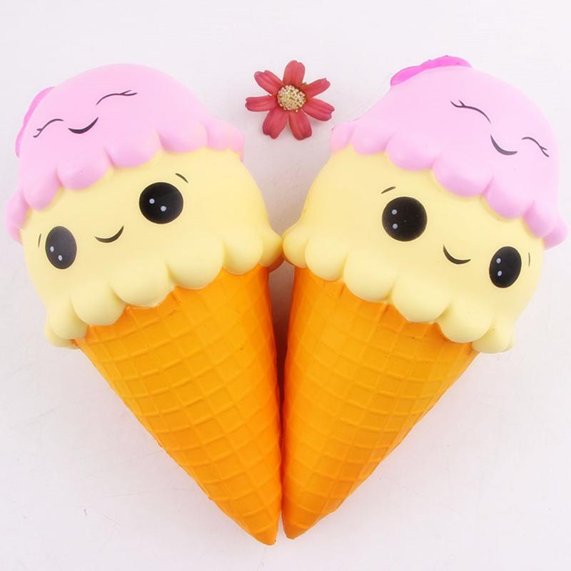Jumbo 22cm Cartoon Double Smile Face Ice Cream Squishy Slow Rising Sweet Scented Charms Food Rebound Bread Kid Toys P15
