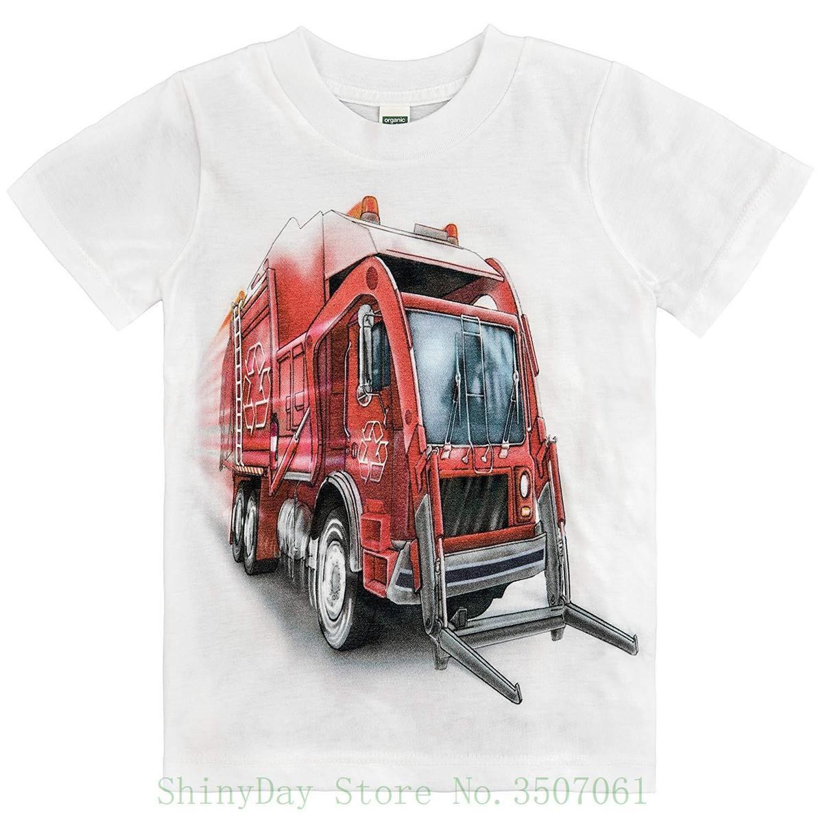 09a04ec5db Compre Camiseta Para Niños Pequeños Del Camión De Basura Rojo Grande  Camiseta De Alta Calidad Con Estampado Personalizado Inconformista Tees  Camiseta A ...