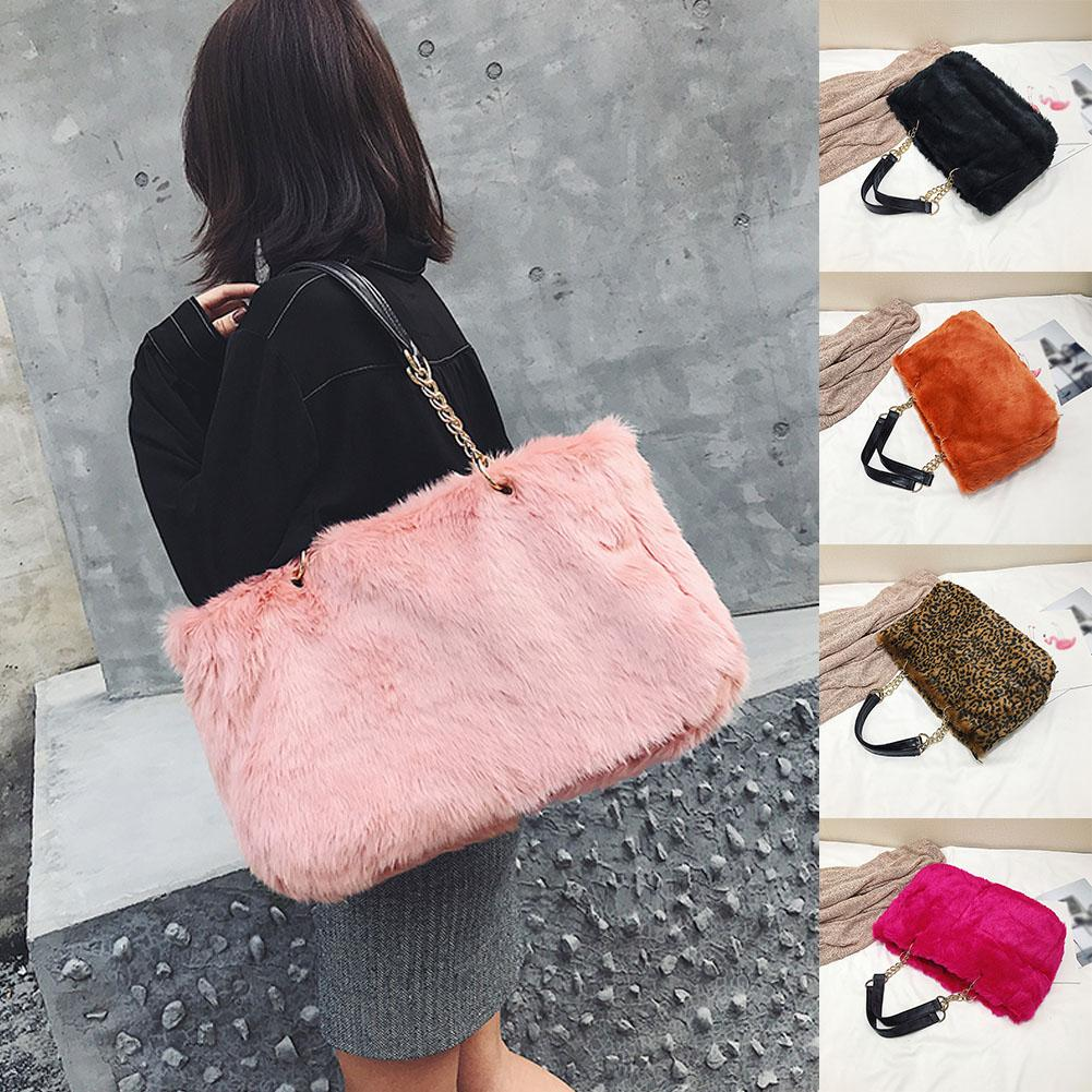 2018 Winter Faux Fur Handbags Women Shoulder Bags Solid Casual Tote Bag  Fashion Leopard Handbag Chain Bag Bolsa Feminina Mens Leather Bags Laptop  Messenger ... d8c9e226c8ffb