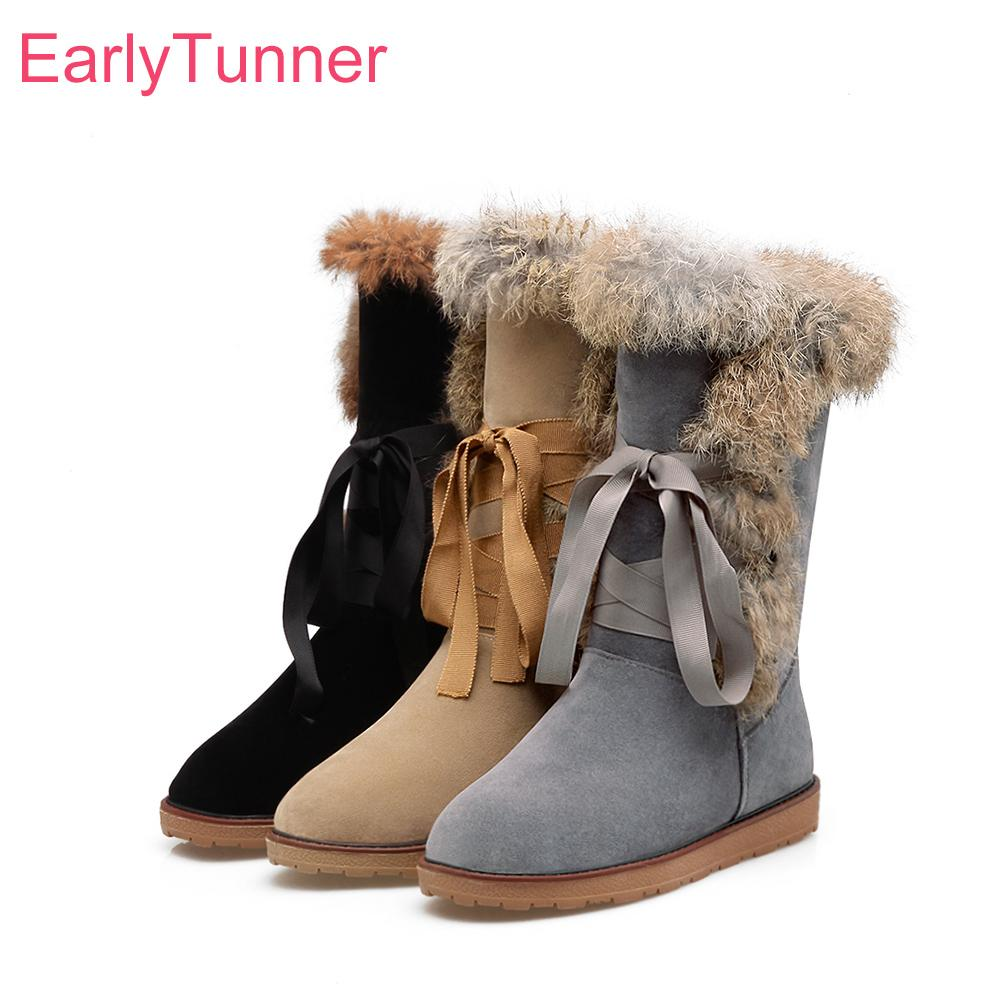 892c49d9c Brand New Hot Winter Lace Up Furry Women Snow Boots Black Yellow Sweet  Round Toe Lady Shoes Low Heels EN82 Plus Big Size 10 43 Combat Boots For  Women Sexy ...