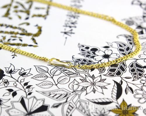 500 piezas / porción, platino de Vietnam Collares oro arena aplanadas Cadena de seguridad sin estimulación de imitación Luminoso Collares de oro Longitud 42 cm