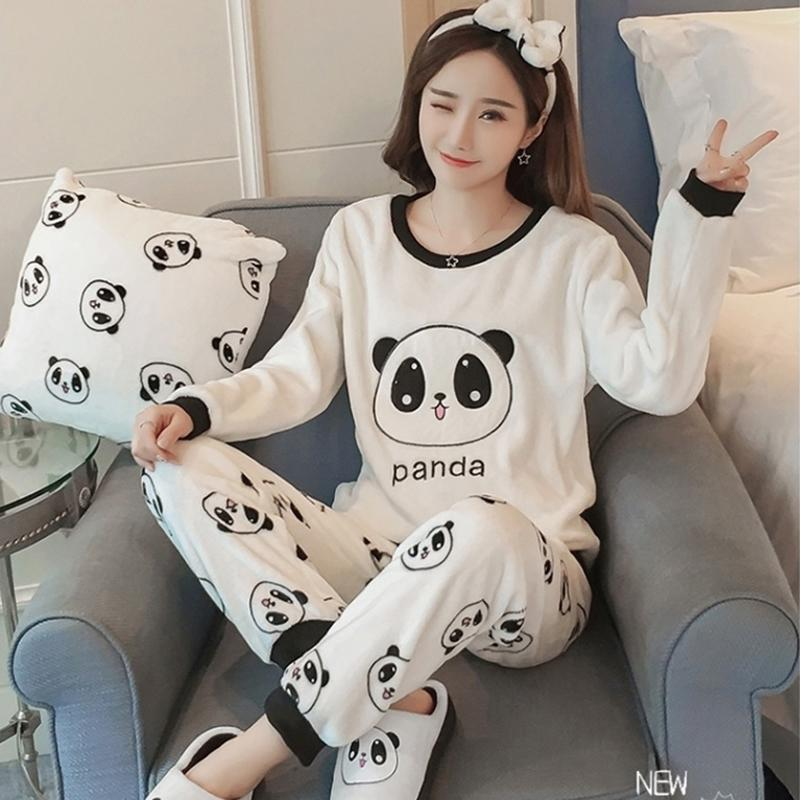 5c7d8aad89d9 2019 2018 Winter Thick Warm Flannel Pajamas Sets For Women Long Sleeve  Coral Velvet Pyjama Girls Cute Cartoon Panda Homewear Clothing From Bowse