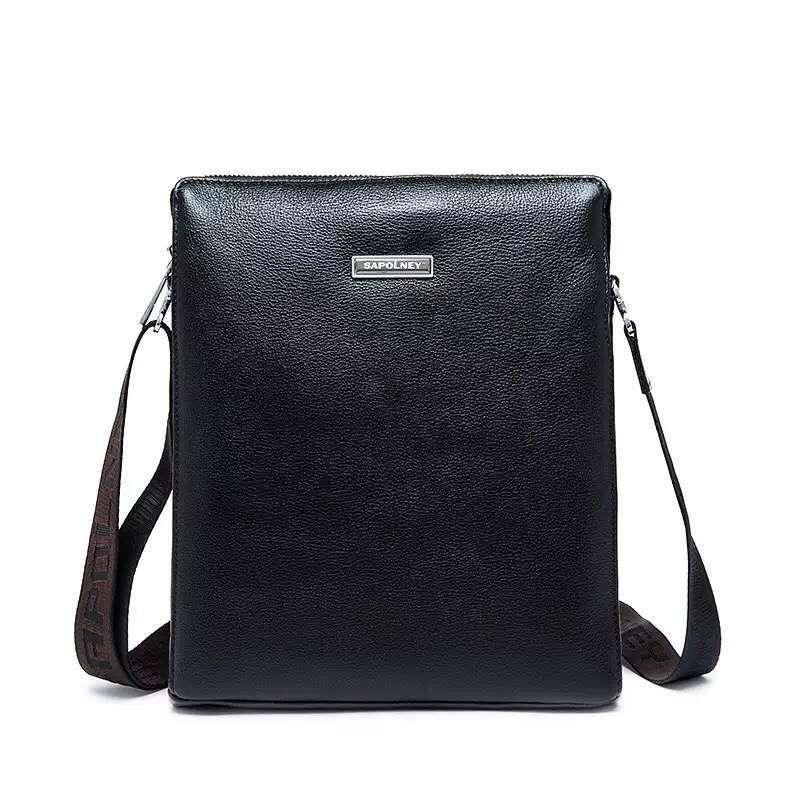 c90d5cb6e0 2018 New Shoulder Bag Men S Leather Business Simple Solid Color Vertical Men S  Messenger Bag Black Leather Briefcase Business Briefcase From Waveshock