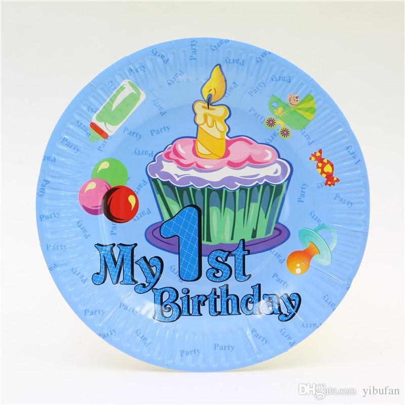 New design 1st birthday party 7inch paper plate for baby boy 1 year old party's best disposable decoration /bag
