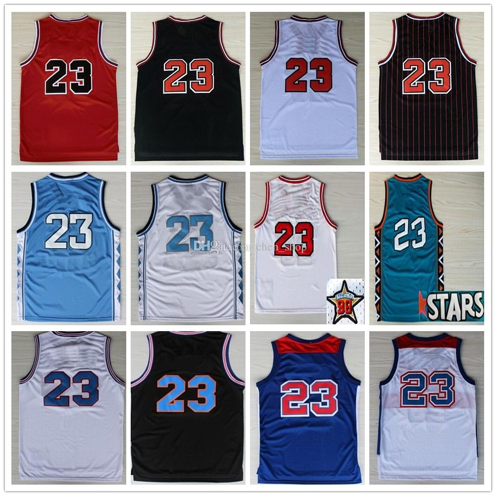 2dd95d07f2a Stithced Space Jam 23 Michael Jerseys Retro Basketball North ...