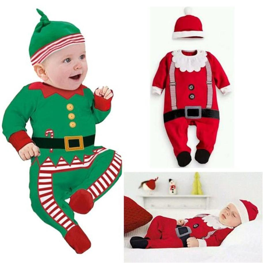 8d06984236756 Acheter Nouveau Vêtements De Noël Bébé Barboteuses Garçon Fille Enfants  Barboteuse Chapeau Cap Set Père Noël Bébé Costume Costume De Noël Cadeau Nouveau  Né ...