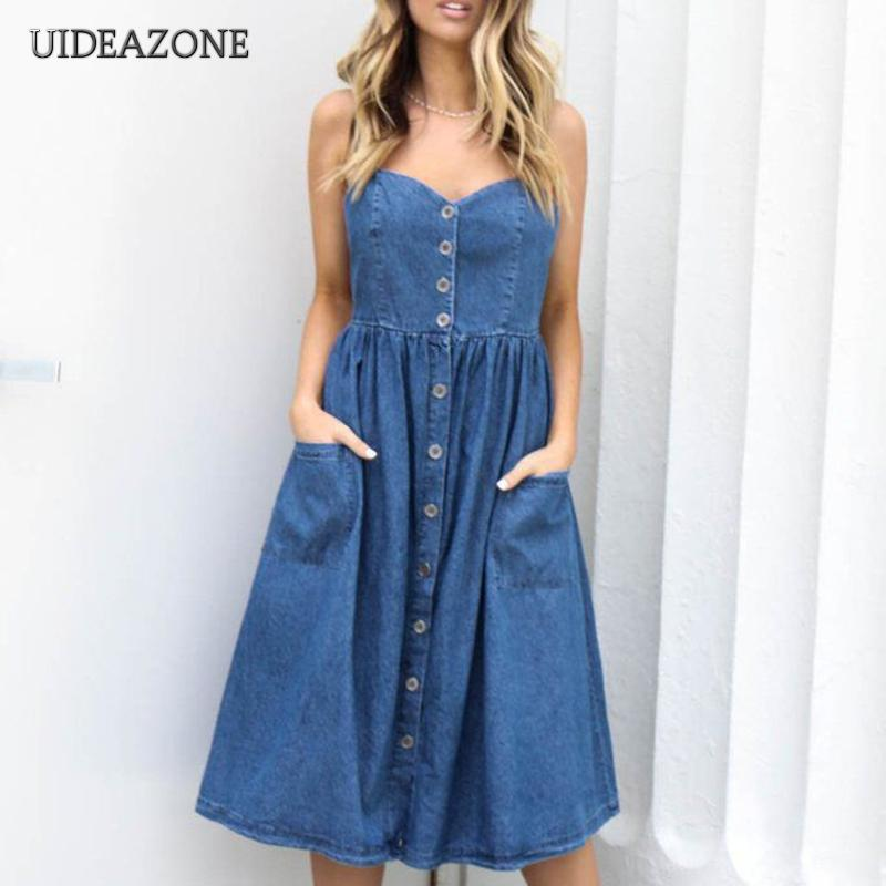 dc3eee7c55 2018 Casual Denim Dresses Women Straps Sexy Backless Fit And Flare Summer  Dress Female Chic Buttons Midi Dresses Vestidos Mujer Long Short Dress  Cocktail ...