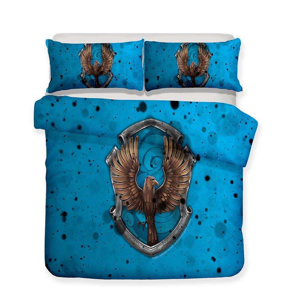 3D Printed Bedding Movie Theme Harry Potter Blue Ravenclaw College Bedding Sets/duvet Cover Set