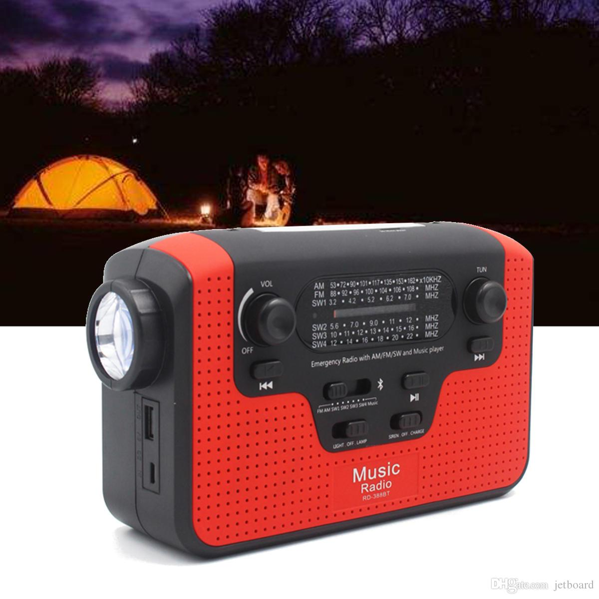 6 In 1 Hand Crank Emergency Charger Light FM/AM/SW Radio Bluetooth Speaker with TF Card Slot