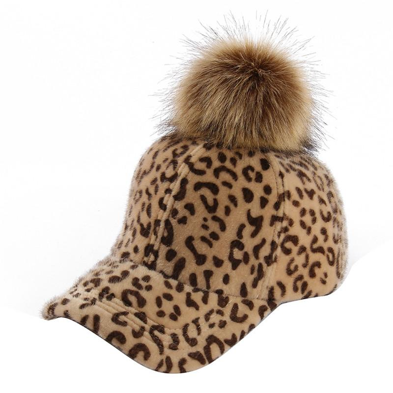New Women S Winter Hats Leopard Print Baseball Cap Females Outside Visor  Pompom Sun Cap Fashion Accessories Casquette Gorras Flexfit Cap Ny Caps  From ... 46f5d0d5b45