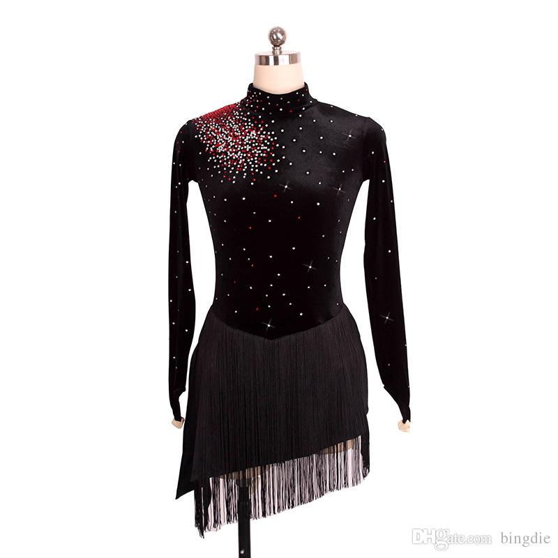 9941f1ac7b Figure skating costume with black velvet fabric Girl's skating skirt  Costume costume Long sleeve Fringe skirt