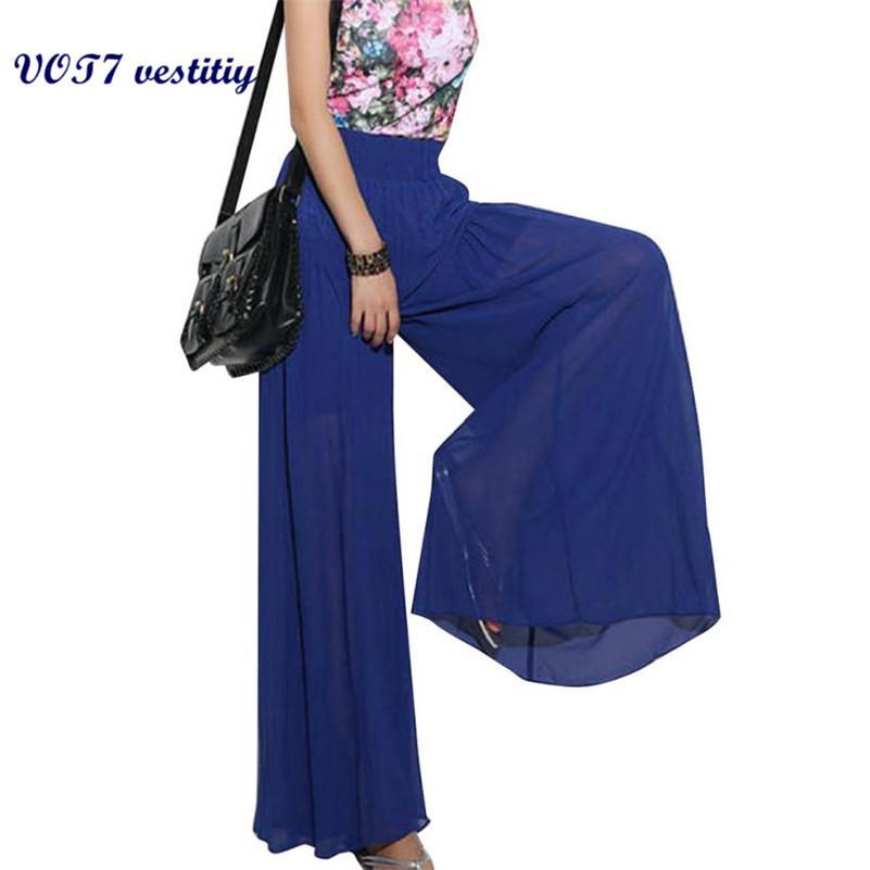 f92972db5c6 2019 VOT7 Vestitiy 2017 Autunm Fashion Lady Wide Leg Chiffon High Waist  Pants Long Loose Culoes Trousers Sep 8 Hot Sale From Elizabethy