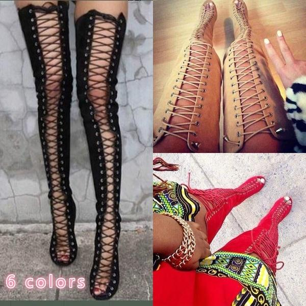203b8a7b86b Sexy Black High Heels Gladiator Shoes Woman Peep Toe Lace Up Thigh High  Boots Summer Cut Outs Over The Knee Sandal Prom Shoes Silver Shoes From  Pakjjjj